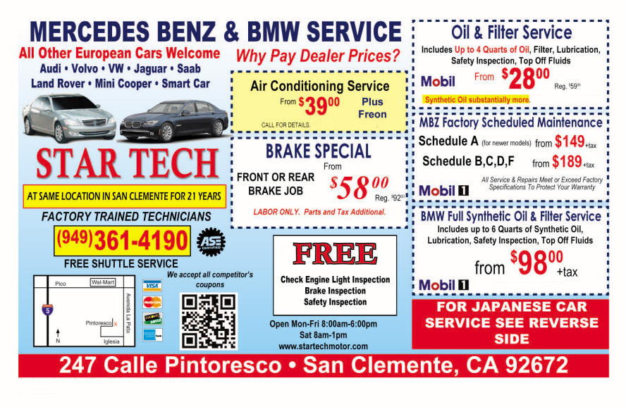 Special offers star tech motors bmw and mercedes for Service coupons for mercedes benz